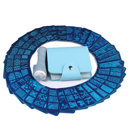 Kit di timbratura per unghie online-vendita all'ingrosso 35 pezzi disegni nail art stamping template 6 * 6cm immagine quadrata piastra + 1 pz double side nail stamper + 1 caso blu kit