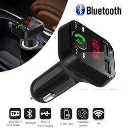 2019 iphone bluetooth carro acessórios B2 carro transmissor fm kit de carro sem fio bluetooth car mp3 player de música led dual usb 2.1a carregador de carros exibição suporte tf cartão handsfree