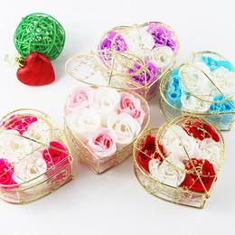 2019 regali fatti di ferro New Valentine Roses Gold Plated Iron Baske Rose Sapone Fiore per sapone da bagno romantico e regalo fatto a mano regali fatti di ferro economici