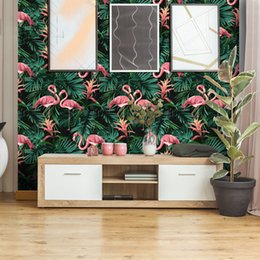 Розовый зеленый фон обои онлайн-Southeast Asia green plant pink flamingo wallpaper hot ins fresh background rental house living room girls bedroom party decor