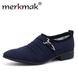 2020 nuove scarpe casual ufficio stile Merkmak Plus Size 38-48 Men Dress Shoes Classico Business Office Oxford Shoes For Men 2018 New Casual British Style Man Flats nuove scarpe casual ufficio stile economici