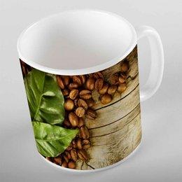 2019 поджаривающая кружка Еще коричневый деревянный кофе в зернах зеленые листья 3d печать подарок керамическая питьевая вода медведь чашка кофе кружка кухня скидка поджаривающая кружка