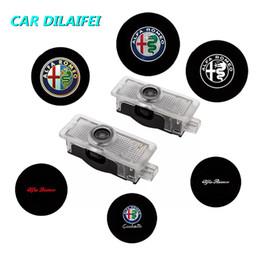 luz de advertencia bmw Rebajas 2 Unids para Alfa Romeo LED Puerta de Coche Luz de Bienvenida Logo Proyector Giulia Giulietta Mito Stelvio Brera 147 156 159