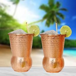 2019 bicchieri di vino in rame Cocktail dell'acciaio inossidabile tazze di arredamento in vetro Moscow Mule tazza di rame martello Point Bar Wine Glasses partito epoca tazza dell'India FFA2280-1 bicchieri di vino in rame economici