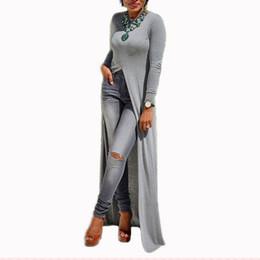 robe de princesse royale médiévale Promotion 2018 Femmes Casual Col Rond À Manches Longues Sexy Split Tricoté Printemps Maxi Robe Longue