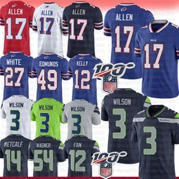 2019 jersey de seattle 3 Russell Wilson 17 Josh Allen Jersey Buffalo Bill Seattle Seahawk Tremaine Edmunds Jim Kelly Oliver Thomas Metcalf DK 12s Ventilador Griffin Blanca jersey de seattle baratos