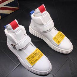 2019 mens tobillo botas correas ERRFC Diseñador personalizado de lujo para hombre botines moda hebilla correa hombre blanco zapatos casuales High Top hombre Martin botas negro rebajas mens tobillo botas correas