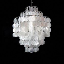 2019 26 colgante de luz led Diy Shell Diámetro de luz de luz 26 cm 38 cm Lámparas de Shell Diversión 3 Círculos luces de araña de concha natural DIVERSIÓN colgante modernas arañas rebajas 26 colgante de luz led