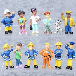 Pompier sam jouets en Ligne-12pcs / set Fireman Sam Action Figure Jouets 3-6cm PVC Bande Dessinée Modèle de Poupées Collection Jouet Pour Enfants Cadeau D'anniversaire