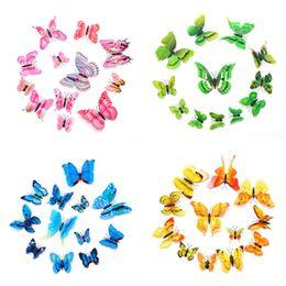 Decalcomanie mobili online-12pcs 3D adesivi murali farfalla simulazione PVC colorato farfalla rimovibile adesivi murali frigo magneti decalcomanie di arte per bambini camera Home Decor