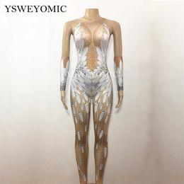 chinesische taschentücher Rabatt YSWEYOMIC Crystal Wings Engel Jumpsuit Weiße Feder 3D Gedruckt Body Nigthclub Sänger Tanzoutfit Strass Bühnenspielanzug