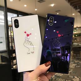 capas bonitos do telefone da menina Desconto Luxo azul luz praça de vidro phone case para iphone x xs max xr 7 8 6 6 s além de menina bonito da tampa do coração