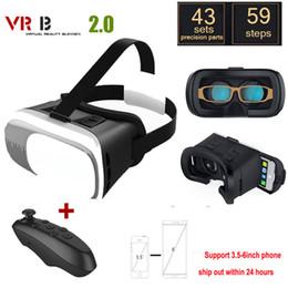 Google cartón bluetooth online-VR 2.0 gafas de vidrio Google Cartón Realidad virtual 3D VR Smartphone + Bluetooth Gamepad para iPhone xiaomi 3.5 - 6.0 pulgadas
