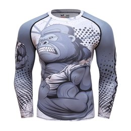 lifting shirts Coupons - Men Compression T Shirts MMA Rashguard Keep Fit Fitness Long Sleeves Base Layer Skin Tight Weight Lifting Elastic BJJ T