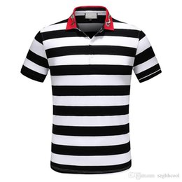 0c0e634d62 19SS The New Summer Embroidered Snake And Bee Lapels Mens Designer T Shirts  Modern Stylish Striped Designer Shirts