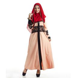 Abiti soiree muslim online-Elegante abito da sera musulmano abito marocchino caftano 2019 Robe De Soiree Dubai abito da applique in pizzo abito maniche lunghe abiti da festa delle donne