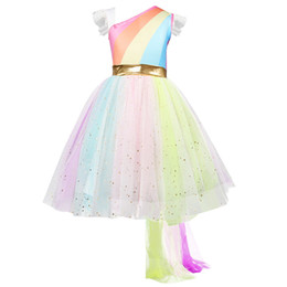 fbfaa4bf3c2c8 good quality Fashion Girls Dress Lace Rainbow Princess Wedding Performance Formal  Dress Clothes vestido menina robe fille