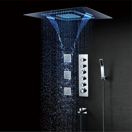 2020 badezimmer wasserhahn auto 600 * 800mm LED Duschkopf Misty Wasserfall Niederschlag Duschkopf Spa Thermostat Duscharmaturen Bad Dusche Spray Jets Messing günstig badezimmer wasserhahn auto