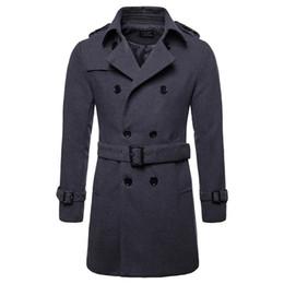 casaco de pêlo duplo breasted marrom Desconto Casaco de lã Homens Long Quente casaco de lã Mens Jacket Casual Casaco Masculino Palto Peacoat Overcoat Down Collar Jacket longo de lã