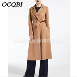 2019 abrigo de camello 2019 Plus Size Winter Women Wool Coat Elegante moda Casual Slim Fit Cinturón Largo Camel Coat rebajas abrigo de camello