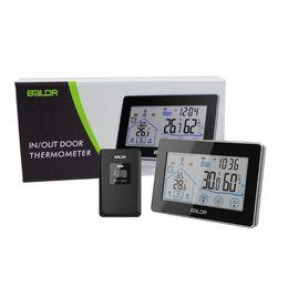 incorporação acrílica Desconto Baldr Início LCD Estação Meteorológica Botão de Toque Em / temperatura Ao Ar Livre Umidade Sem Fio Sensor Higrômetro Relógio Digital Termômetro Moda