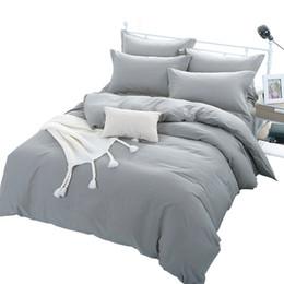 Lits simples en Ligne-Ensemble de couverture de couette de couleur grise pour lit double simple enfants adultes 6 tailles 100% coton ensembles de literie XF644-4