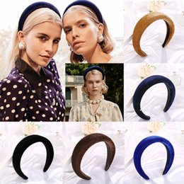Губчатые конструкции онлайн-Женщины толстые губки оголовье винтажный дизайн бархатная головная группа Леди голова обруч широкий Hairbands аксессуары для волос для девочек партия ювелирных изделий