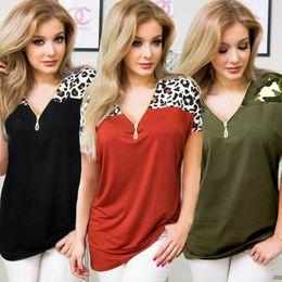 Blusen lösen kurze ärmel online-Leopard-Druckreißverschluss-Hemd 3 Farben-Patchwork-Blusen-Sommer-Kurzschluss-Hülsen-Art- und Weiselose beiläufige Oberseiten 10pcs LJJO6948