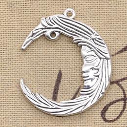 Argentina 25 piezas Charms moon face 38 * 32 mm antiguo, ajuste de aleación de zinc, plata tibetana vintage, bricolaje para collar de pulsera Suministro
