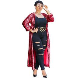 Плащиковые плащи онлайн-Женщины из двух частей наряды клуб рукав пальто пыли Женская одежда плюс размер кардиган куртка с сексуальными блестками длинные негабаритных пальто