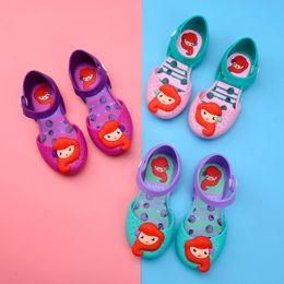 Chica de moda Sirena Jelly Shoes Cartoon Baby Version Lovely Princess Shoes Cute Kids Summer Travel Sandalias de playa TTA1076 desde fabricantes