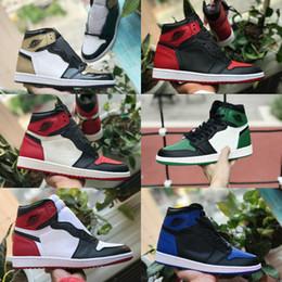 2020 sapatos de camurça azul-real Vendas 2019 New alta OG mediana Mens 1 tênis de basquete Retroes Real Banido Sombra Bred Azul branco vermelho Toe sapatos baratos Mulheres 1s Chicago Sneakers sapatos de camurça azul-real barato