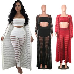 f8905eecd8 Plus Size Women Striped Perspective 3 Pieces Sets Strapless Crop Tops +  Pants + Long Sleeve Cloak Party Club Sexy Hollow Out Clothes C3274