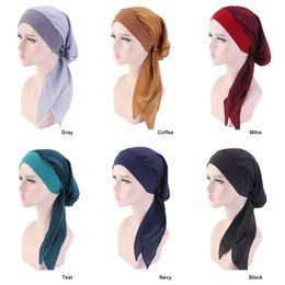 mulheres usando gorro de cabeça Desconto Cap Scorpion HugMee Solid Color Silk Silk Scarf Cap Elastic Faixa de Cabelo Hat para a mulher Headband para Mulher principal desgaste do pirata Hat P0096
