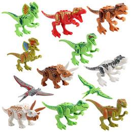 Juegos de dinosaurios online-Bloque Puzzle Jurásico Dinosaurio ABS Minifig Modelo de Colección Figuras de acción Minorista Miniatura Muñeca Sorpresa Juego Minifig