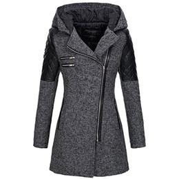 2019 abrigo de lana rosa con volantes Escudo JAYCOSIN delgada caliente capa de la mezcla de la chaqueta de las mujeres grueso abrigo de invierno Outwear Parka con capucha cremallera chaqueta de los pantalones del sobretodo 9816