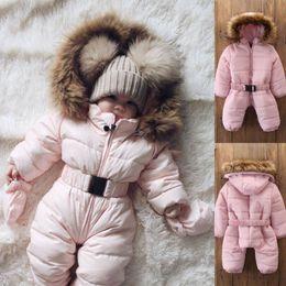 Baby, der spielanzug trägt online-2019 Winter-Thick Schnee tragen Kleinkind-Baby-Mädchen-Winter-Spielanzug Jacke mit Kapuze Kinder Outwear Overall-Mantel-Outfit