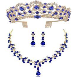 2019 collar de piedras semipreciosas verde DIEZI nuevo lujo Corona pendiente del collar Rojo Verde Azul y joyería Set Rhinestone Tiara novia de la boda joyería fija Accesorios