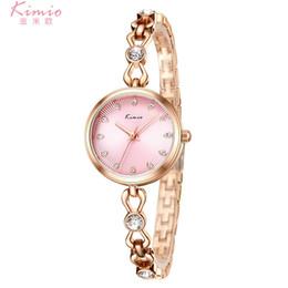 красочные женские часы Скидка KIMIO Colorful Quartz Diamond Watch Alloy Rose Gold Bracelet Watch Women Dress Woman Watches  Women's Watches K6276S