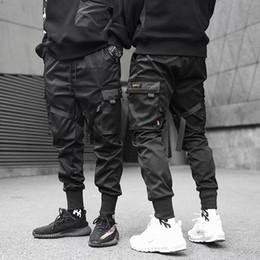 Pantalones harem hip hop de carga online-Hombre Cintas Color Block Black Pocket Cargo Pants 2019 fashion Harem Joggers Pantalones deportivos Hip Hop Pantalones