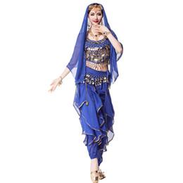 Dança indiana trajes on-line-Costumes 4pcs Set Bollywood Vestido Belly Dance Costume Sari Dancewear indiano egípcio dança Vestuário ciganos para as Mulheres (Top + cinto + calça + Veil)