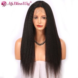 2019 peruca do cabelo humano da parte média do yaki AliBlissWig parte dianteira do laço do cabelo humano Perucas Kinky Hetero 1 * 3,8 polegadas Parte Oriente Remy do brasileiro Natural Color italiano Yaki Wig peruca do cabelo humano da parte média do yaki barato