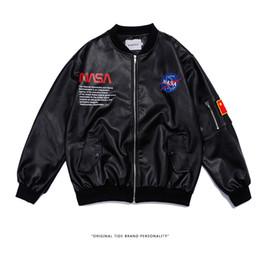 Крутые армейские куртки мужчины онлайн-NASA Pilot Bomber Jacket Mens Winter Jacket Men PU Thin Military Army Flying Tigers Cool Baseball Flight Jackets