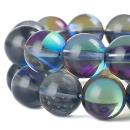 2019 pedras soltas soltas Pedra Flash MoonStone Beads Rodada Shimmer Cristal De Vidro Natural Rainbow Contas Soltas Aura Iridescente Pulseira Colar de Jóias Fazendo 8mm desconto pedras soltas soltas