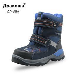 Jungen wandern stiefel online-Apakowa Winter Jungen Schneeschuhe Kinder Wasserdichte Hookloop Warme wollene Stiefeletten mit Reflexstreifen Kleine Jungen Wanderschuhe