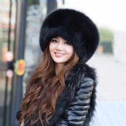 chapéu feminino russo Desconto Frete Grátis new 2017 Mulheres Genuine Chapéus De Pele De Raposa para as Mulheres de Inverno Cap Para Inverno Russo Feminino Natural Pele De Guaxinim Quente Caps
