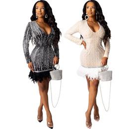 2019 fotos de vestidos de cena cortos vestidos de lentejuelas vestido de la pluma midi perla del envío libre para el vestido de BodyCon discoteca vestido de cóctel partido de la mujer