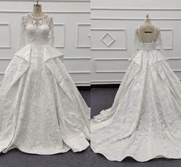 Jóia cristais vestido de noiva espartilho on-line-2019 A Linha de Vestidos de Casamento Branco Jewel Neck Lace Nupcial Vestidos Espartilho Backless Mangas Compridas Boho Vestido De Noiva Com Cristal