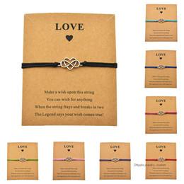 paare unendlich armbänder Rabatt Neue einfache handgemachte justierbare Schnur-Liebes-Karte Unendlichkeits-Herz-Charme-Armbänder für Frauen-Mann-Paar-Liebhaber-Geschenk-Schmuck