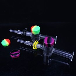 Paglia di punta di quarzo online-Tubi per acqua in vetro Recuperatore Dab Straw With Quartz Chiodo Keck Clip 10ML Contenitore in silicone Consigli per vetro Dab Rig Kit di paglia di miele